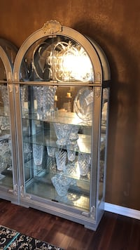 Two Grey/Brown wooden framed glass display cabinet