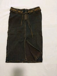 Long denim skirt with front slit size 2 fits waist 25-26 inch hardly w