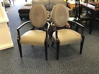 two brown wooden framed white padded armchairs Virginia Beach, 23462
