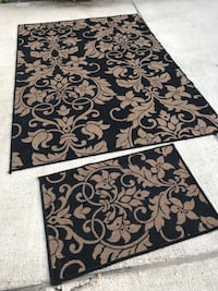 black and brown floral outdoor area rug Norfolk, 23505