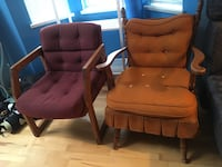 two brown wooden framed red padded armchairs 溫哥華, V6E 1J3