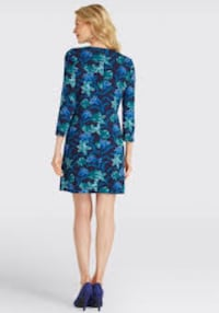 blue and green floral long sleeve dress