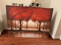 Brown wooden framed red and white floral padded picture 12 km