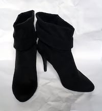 Black slouchy suede high-heeled booties size 7.5 women's New