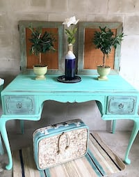 Antique Queen Anne desk turquoise blue distressed Clearwater, 33755