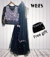 FASHION BRAND WORLD BEST FRIENDS Party wear lehnga  Stuff (Net) Size small,medium,large FREE GIFT (CLUTCH) Colour (Black & silver) Home shipping is Availible for all cities For price details inbox us