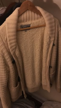 Schott Bros Shawl Collar Shearling Cardigan (Toggle and zip closure, Size M) New York, 10029