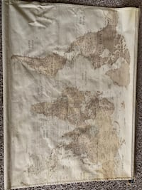 "Vintage World Map with ""travel"" Word Art Oklahoma City, 73112"