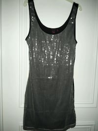Lowered-MATERIAL GIRL SILVER SPARKLY SEQUIN MINI DRESS MEDIUM  Toronto, M6B 2A2
