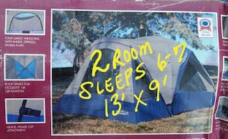 2 Room Tent 13ftx9' Camping Cabin Dome Sleeps 6 7