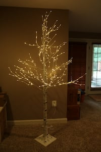 Lighted Artificial White Birch Pine Tree Ashburn