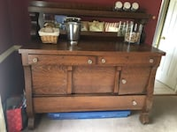 Antique buffet bar with rail and mirror Abingdon, 21009