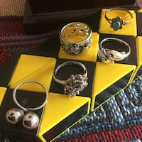 Pretty assorted Silver rings to chose from . Find  the style you love , each is priced $25   Size # 5   Each ring sold sparely but if you like to buy more than one I can give a price brake .   Alexandria, 22311