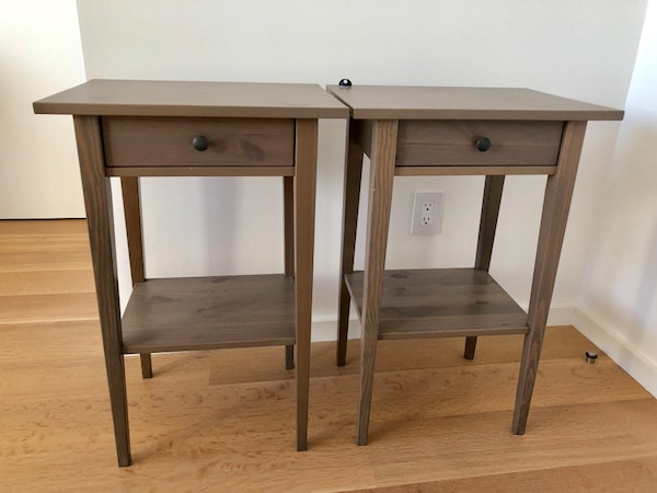 Two Ikea Hemnes Nightstands In Dark Grey Stain Originally 50 Each Giving Pair For