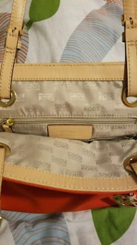 white and brown leather tote bag Red Deer, T4P 1W7