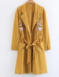 Flower embroidery longline coat with self tie Tananger, 4057