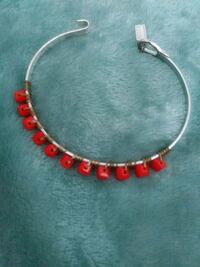 red and silver beaded necklace Omaha