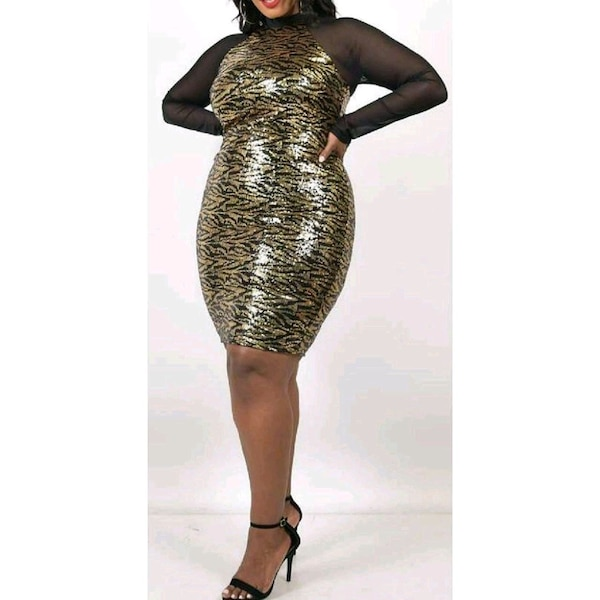 women's brown and silver sleeveless dress