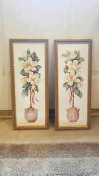 two brown wooden framed painting of flowers Gaithersburg, 20882