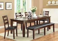brown wooden dining table and chairs 1203 mi