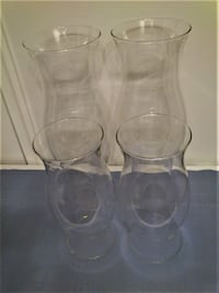 "4 Glass Hurricane Candle Globes/Shades 11"" & 16"" West Springfield"