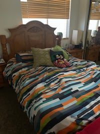Queen bed frame + 2 night stands