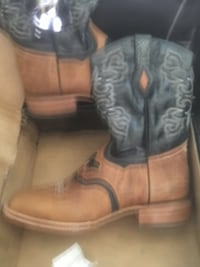 pair of brown leather cowboy boots Deridder, 70634