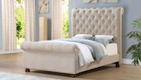 Beige Tufted Nailhead Queen Bed | HH262   Houston, 77036