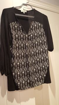 women's black and white printed blouse Minesing