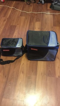 two rectangular travel coolers