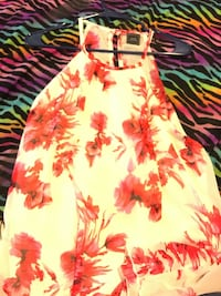 white and red floral spaghetti strap dress