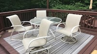 white metal framed glass top patio table set Springfield, 22152