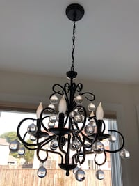 Black metal chandelier  with round glass crystals  Bel Air, 21014