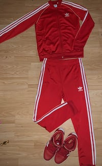Kids red Adidas Tracksuit w/ matching shoes  Calgary, T3C 0G1