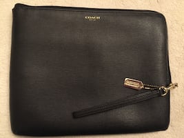 EUC Coach Black Leather Flat Tech Case Clutch Bag 11.25 Inch x 9 Inch