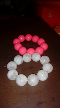 White  and pink beaded bracelets