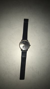 round silver analog watch with black leather strap Oakville, L6L 1N8