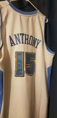 2XL Stitched Carmelo Anthony white Nuggets jersey