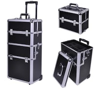 New Never Used 4 in1 Rolling Makeup Train Case Aluminum Artist Cosmetic Box Black Bakersfield, 93309