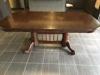 Dinner table, 100 percent solid oak wood. Can be revarnished to any colour you'd like. Seats 6-8 chairs depending on chairs. Approximately 8 feet wide by 4 feet length. Price is firm.  Kleinburg, L0J 3X9