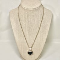 Sterling Silver Black Onyx Pendant with Sterling Rope Chain Ashburn