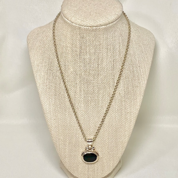 Sterling Silver Black Onyx Pendant with Sterling Rope Chain
