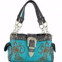 NWT Buckle Decorative w/Embroidery Print Concealed Handgun Shoulder Bag-Turquoise Purse Omaha