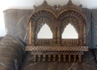 Vintage solid wood wall mirror Rajasthani Double Frame Jharokha Montreal