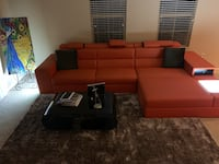 Contemporary Bonded Orange Leather Sectional Oceanside, 92056