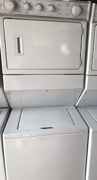 White stackable washer & gas dryer-Standard size . Huntington Park