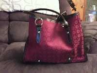 red and black leather tote bag
