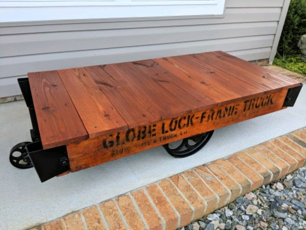 Completely Refinished Factory Cart Coffee Table
