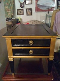 brown  and gold wooden 2-drawer nightstand