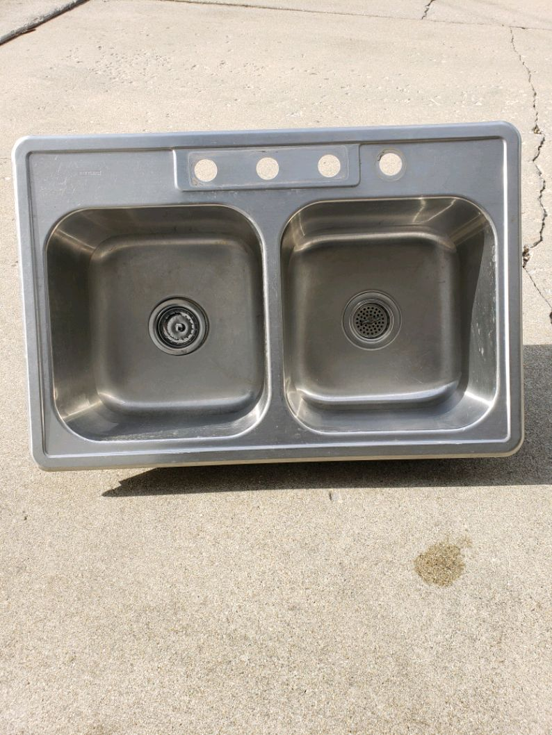 Photo Stainless steel double sink